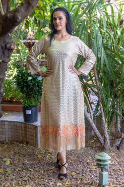 Golden Silk Gown with Embroidery & Beads- Trendz & Traditionz Boutique