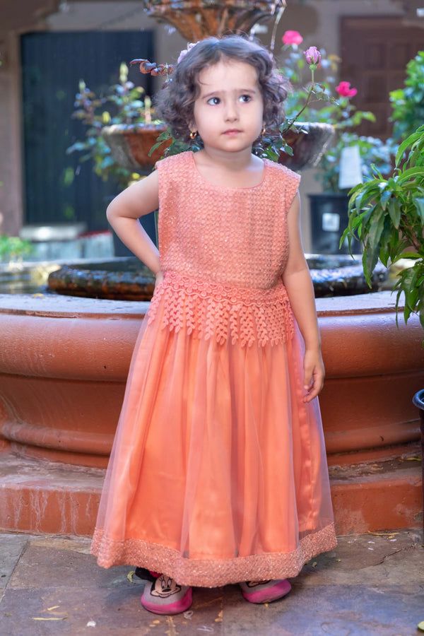 Girls Peach Net Dress- Trendz & Traditionz Boutique