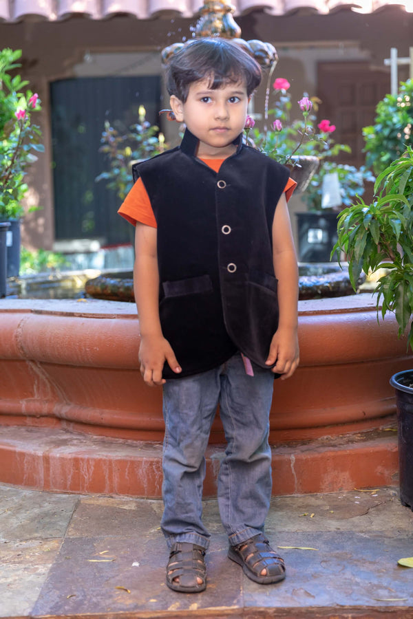 Boys Black Corduroy Vest- Trendz & Traditionz Boutique