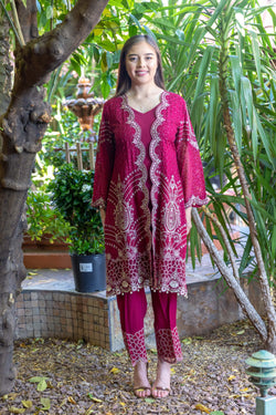 Magenta Salwar-Kameez Chiffon and Silk Suit- Trendz & Traditionz Boutique
