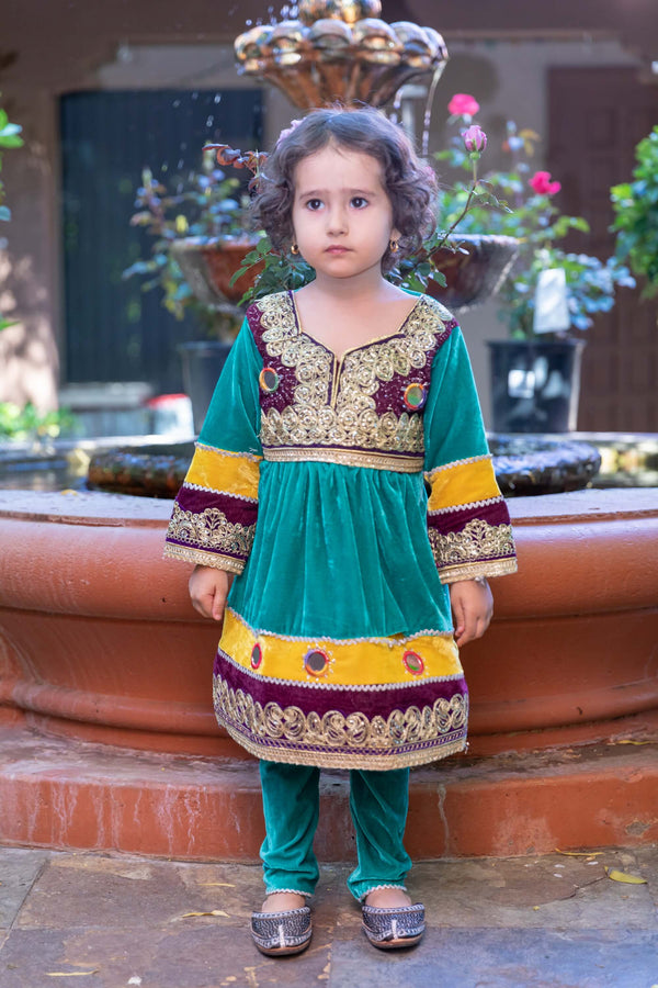 Girls Afghan Velvet Dress-Frock - Trendz & Traditionz Boutique