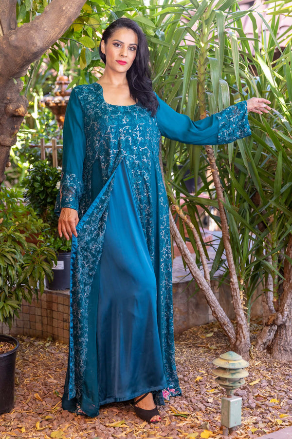 Embroidery Chiffon Maxi-Gown- Trendz & Traditionz Boutique