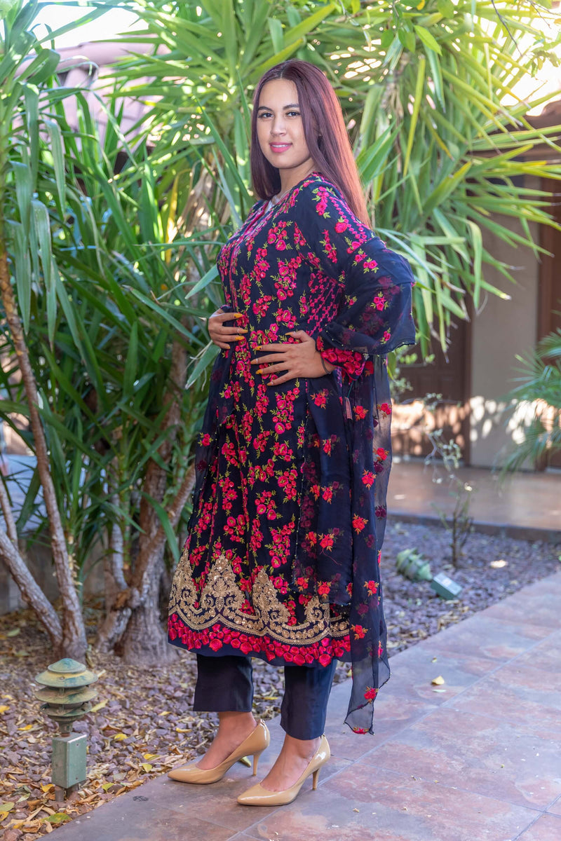 Navy Chiffon Embroider Suit with Silk pants- Trendz & Traditionz Boutique