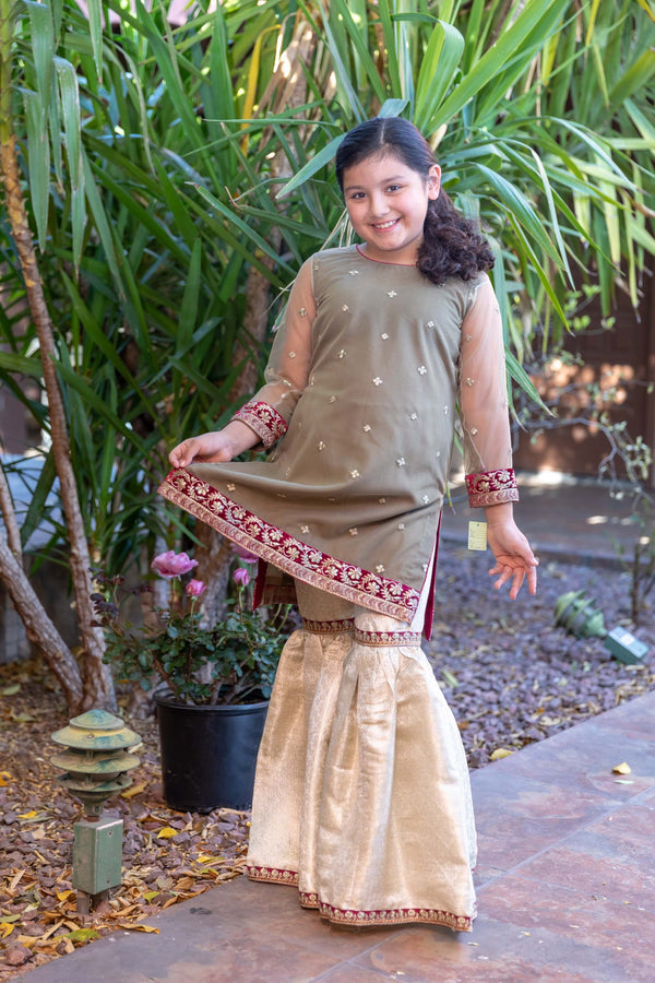 Girl's Net Dress With Silk Pants - Trendz & Traditionz Boutique
