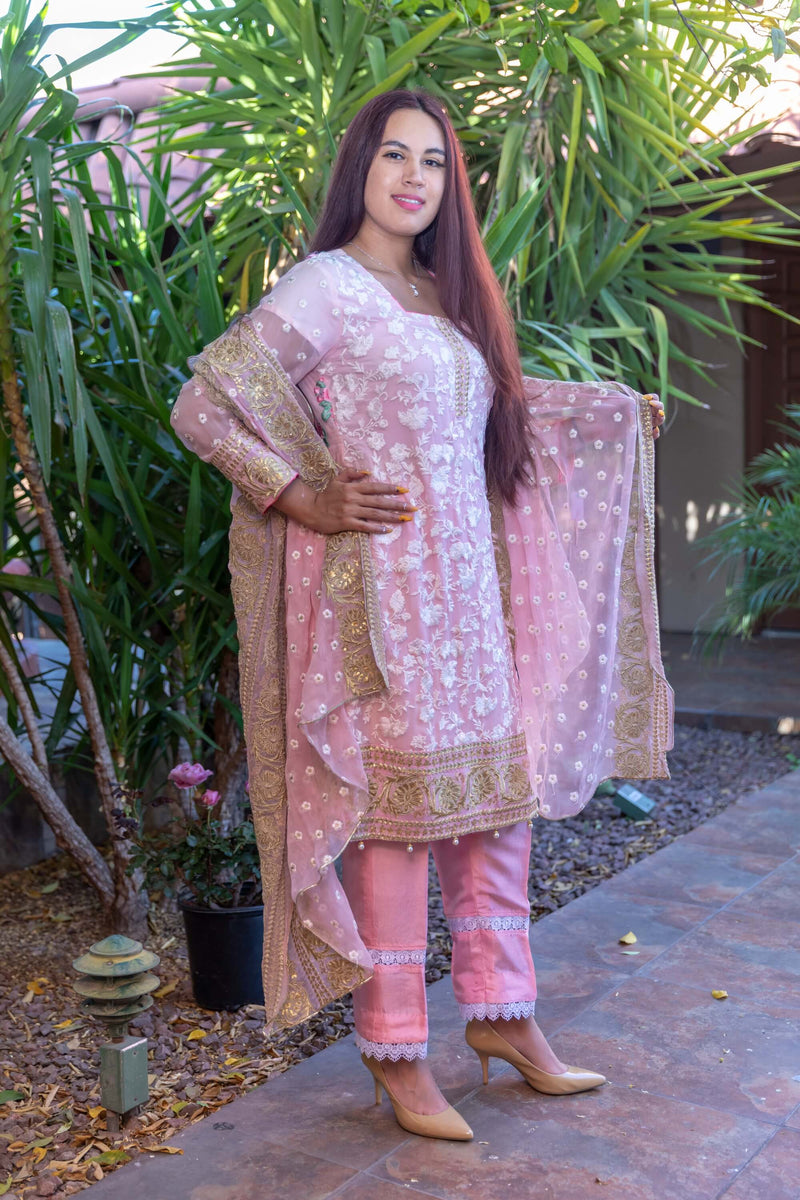 Pink Chiffon Embroidery Suit with Silk pants and Embroidery Chiffon Shawl- Trendz & Traditionz Boutique