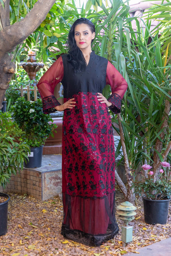 Maroon Net Gown with Embroidery & Beads- Trendz & Traditionz Boutique