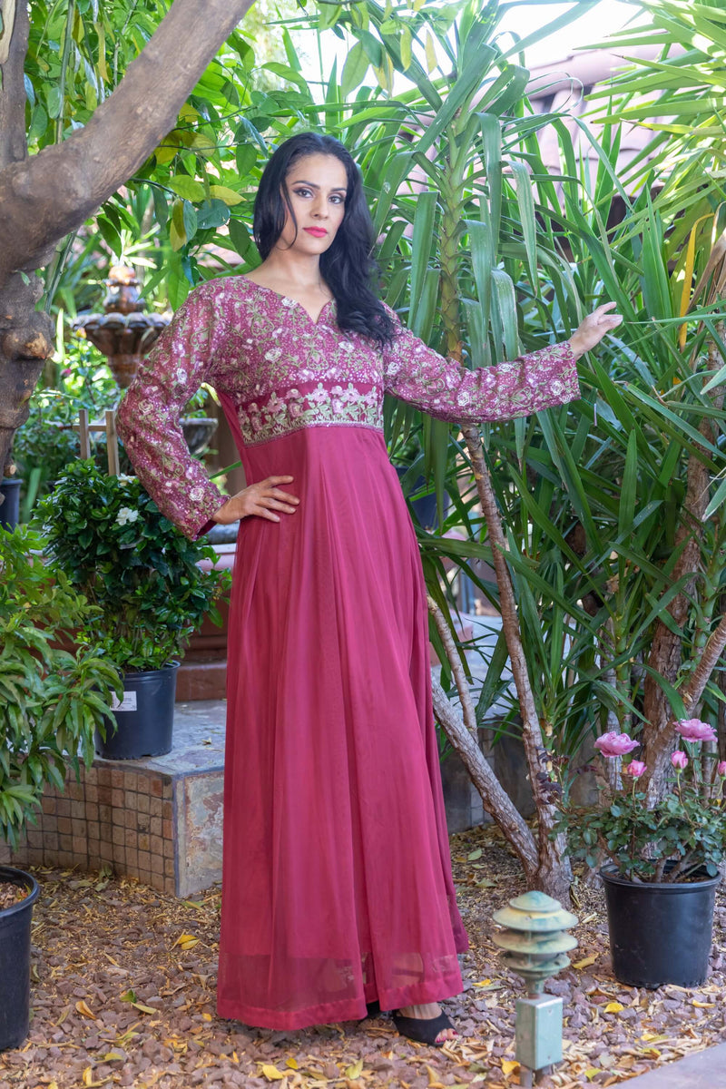 Embroidery Net Dress-Gown - Trendz & Traditionz Boutique