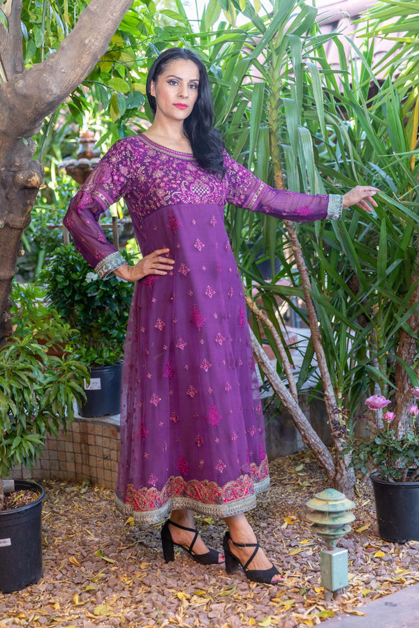 Net Purple Anarkali Gown Dress- Trendz & Traditionz Boutique