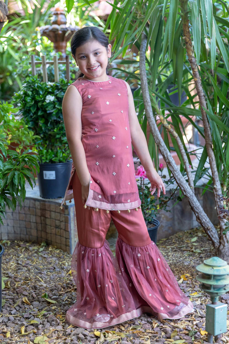 Pink Girls Net Dress Garara-Suit- Trendz & Traditionz Boutique