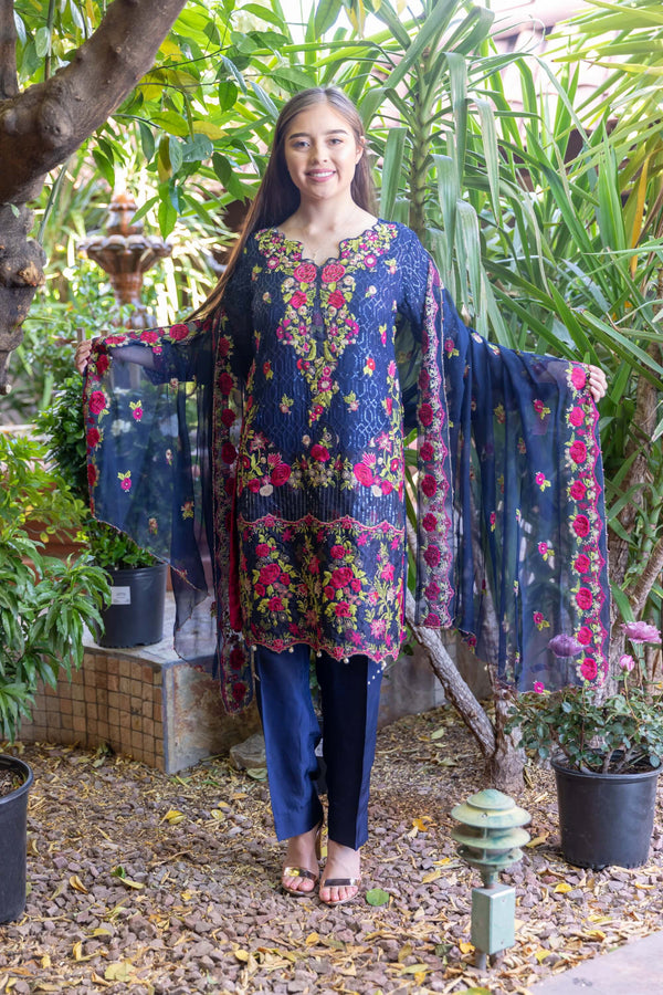 Blue Chiffon Suit With Pink-Green Embroidery & Silk pants & Full Embroider Chiffon Shawl- Trendz & Traditionz Boutique