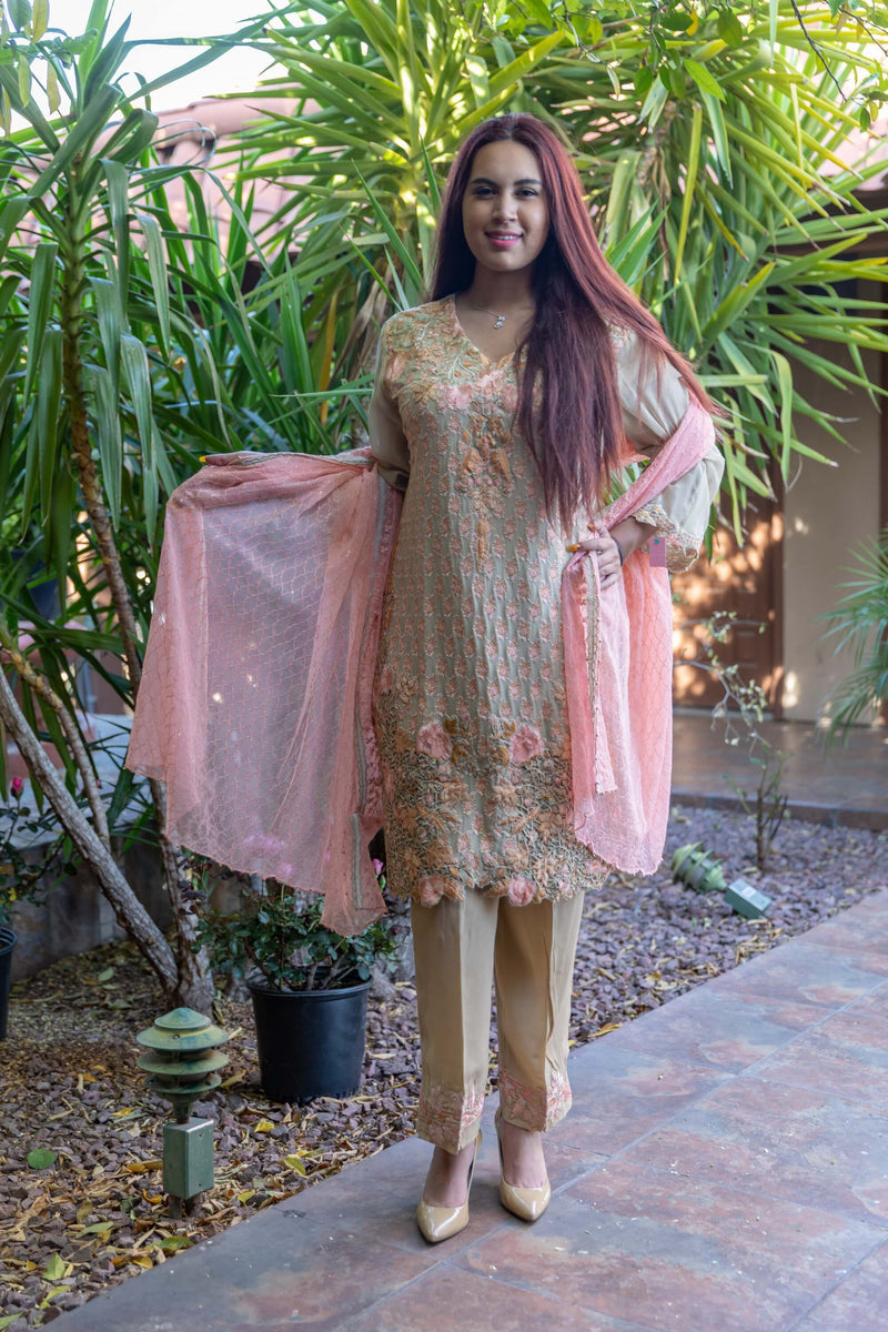 Chiffon Silk Embroidery Suit-Slawar Kameez- Trendz & Traditionz Boutique