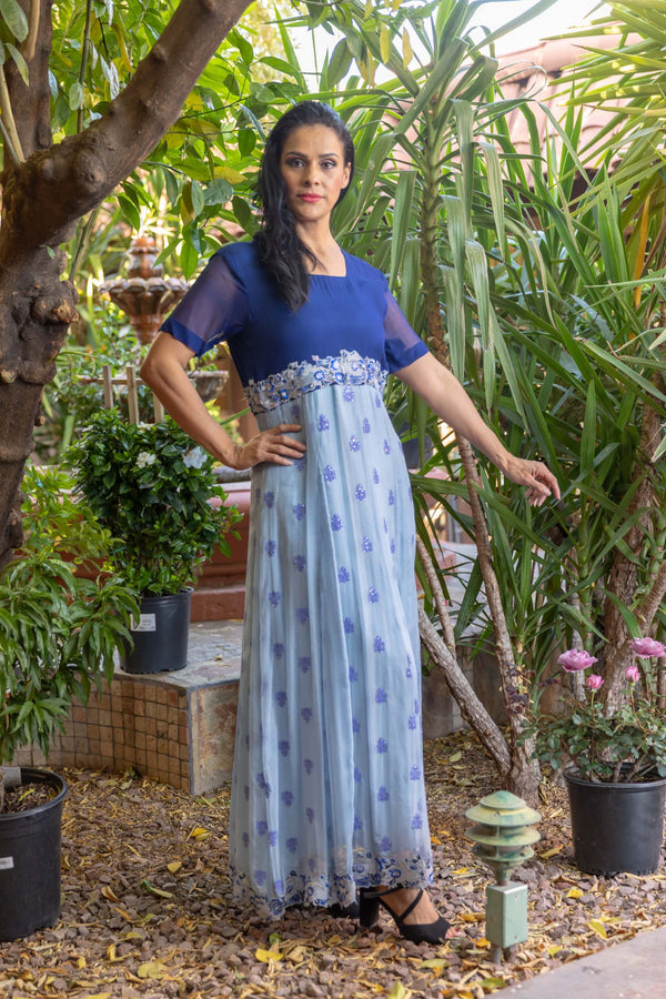 Blue Two Tone Chiffon Gown - Trendz & Traditionz Boutique