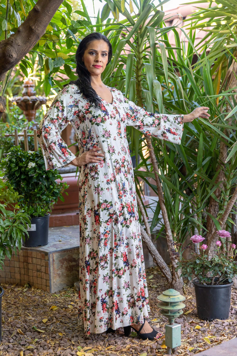 Rayon Gown with Flower Print- Trendz & Traditionz Boutique