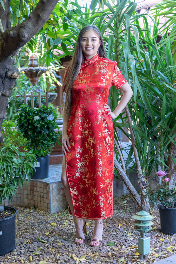 Traditional Red Chinese Silk Dress- Trendz & Traditionz Boutique