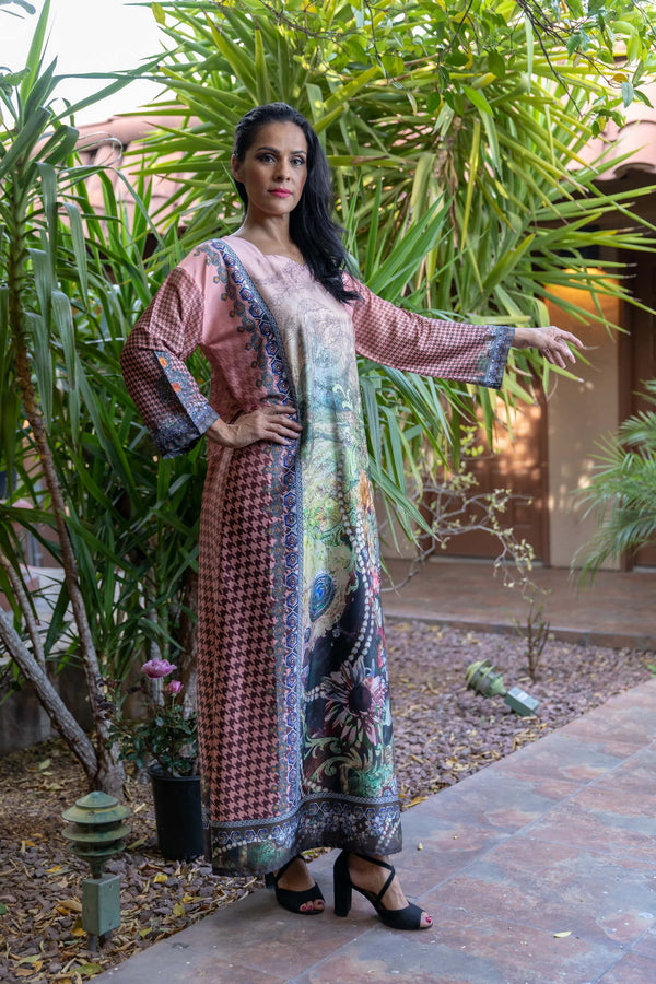 Long Silky Printed Gown - Trendz & Traditionz Boutique