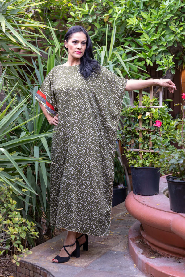 Green Cotton Printed Caftan- Trendz & Traditionz Boutique