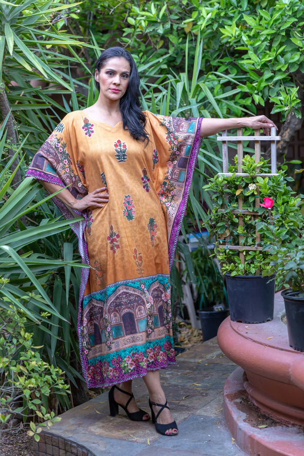 Rayon Linen Printed Caftan Style Gown - Trendz & Traditionz Boutique