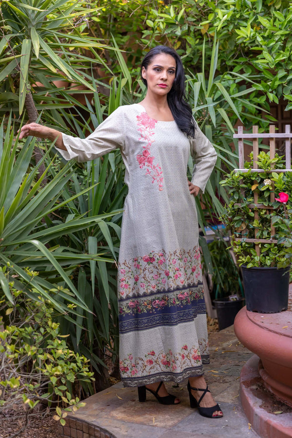 Multi Colored Long Cotton Gown-Dress - Trendz & Traditionz Boutique