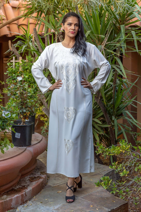 Long White Embroidery Georgette Abaya Dress - Trendz & Traditionz Boutique