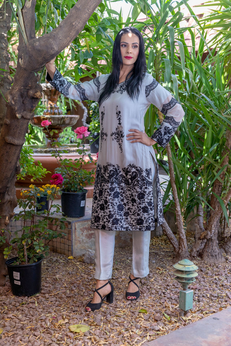 Chiffon Shirt with Black Embroidery- Silk pants & Scarf- Trendz & Traditionz Boutique