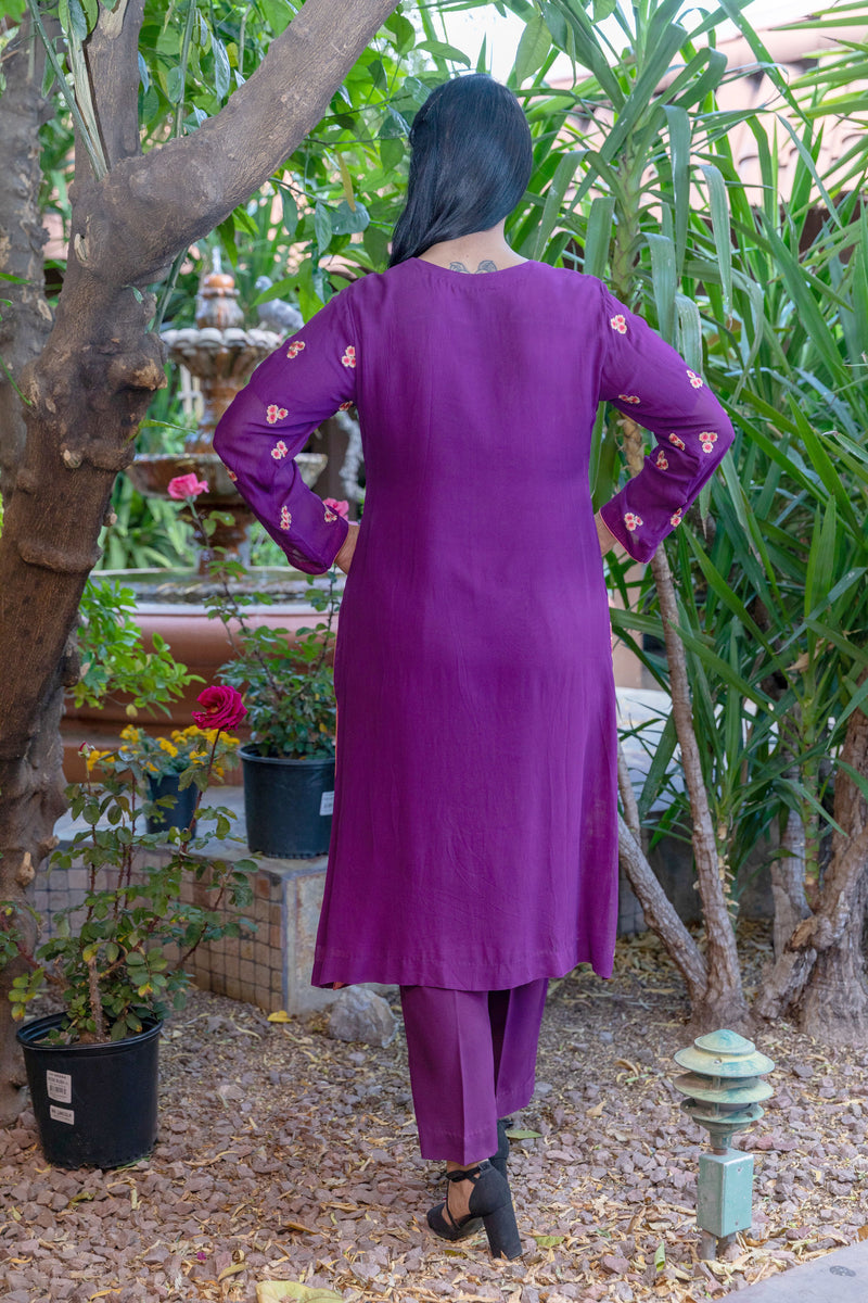 Magenta-Purple Cotton Silk Salwar Kameez Suit - Trendz & Traditionz Boutique