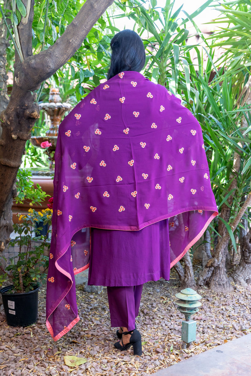 Magenta-Purple Cotton Silk Salwar Kameez Suit