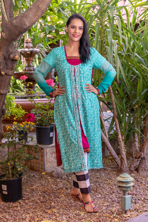Teal Salwar Kameez Suit With Embroidery - Trendz & Traditionz Boutique