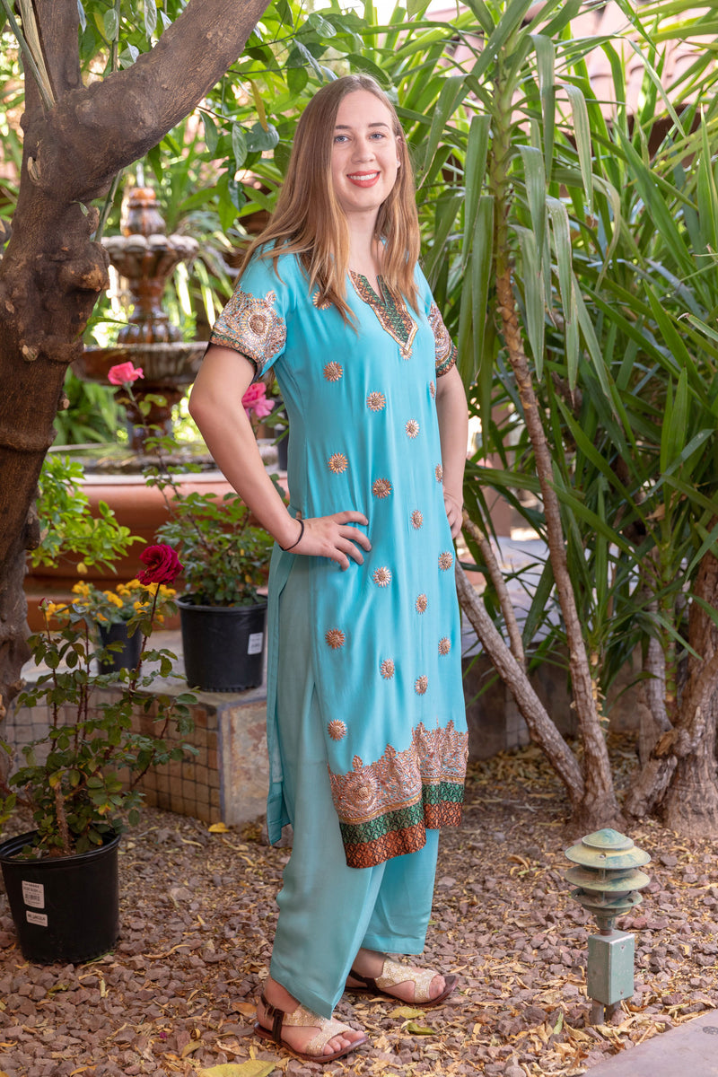 Blue-Turquoise Gota Embroidery Salwar Kameez- Trendz & Traditionz Boutique