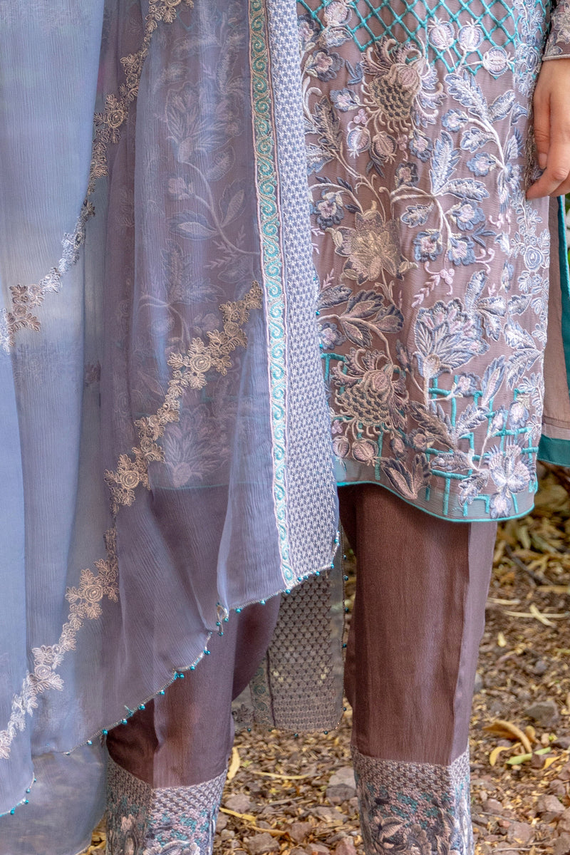 Grey and Blue Suit Made From Chiffon and Silk - Trendz & Traditionz Boutique