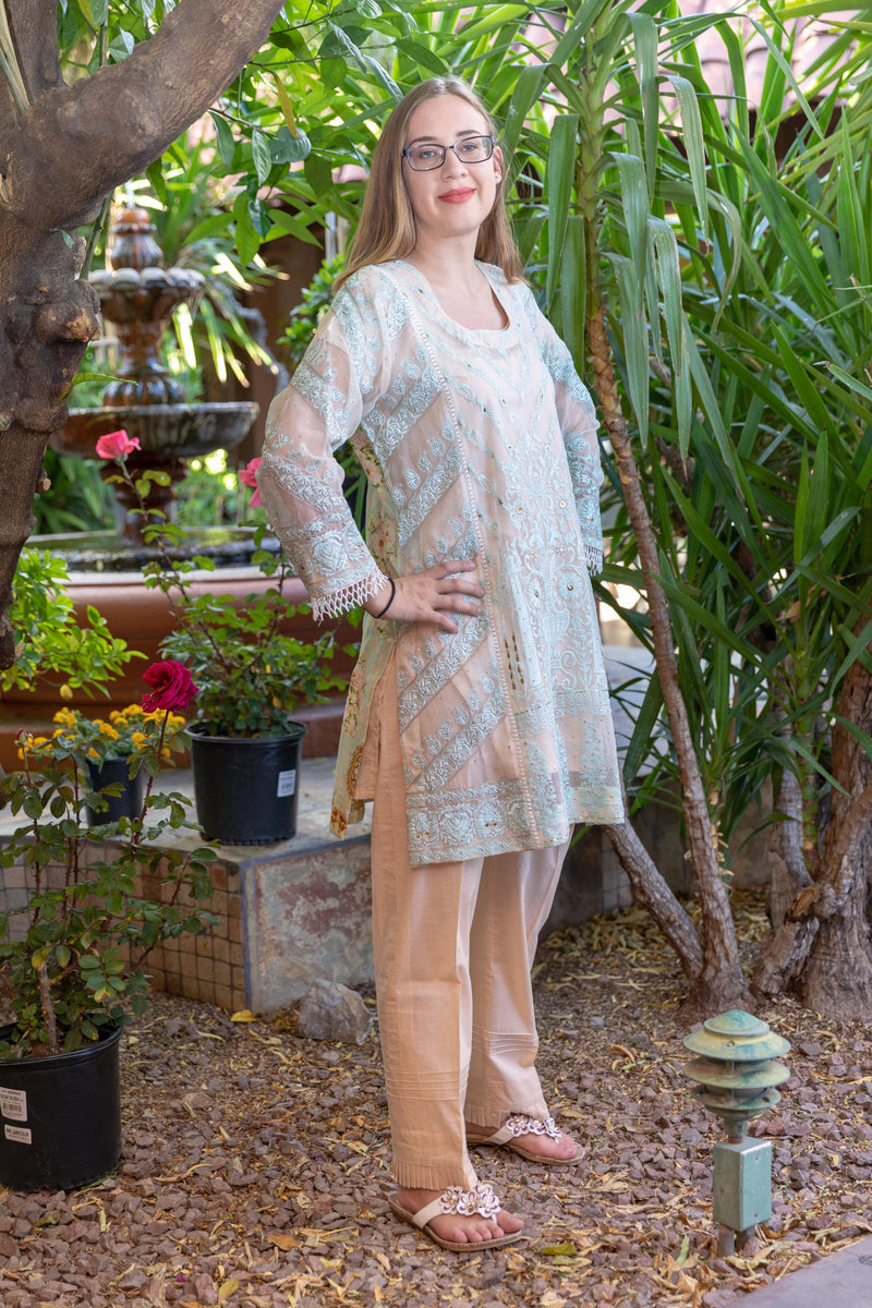 Light Blue Sea Glass Color Suit Salwar Kameez- Trendz & Traditionz Boutique