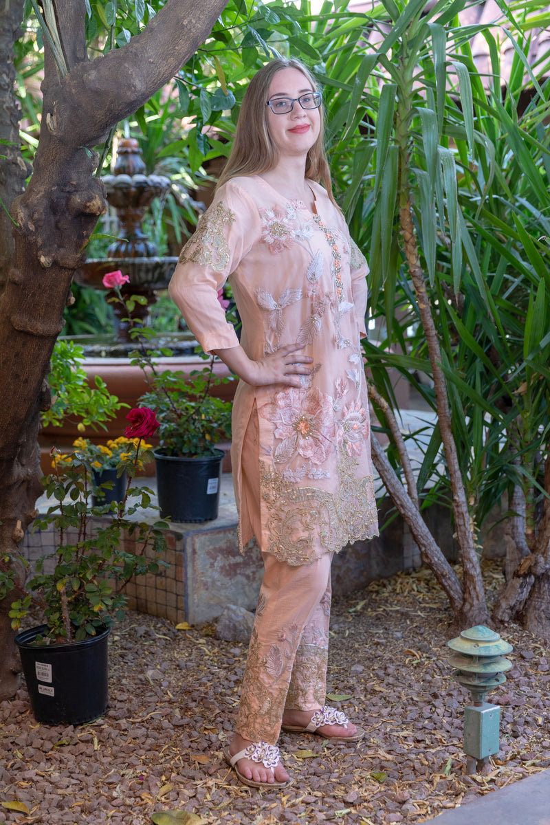 Gulahmed Peach Suit with Organza Shirt- Trendz & Traditionz Boutique