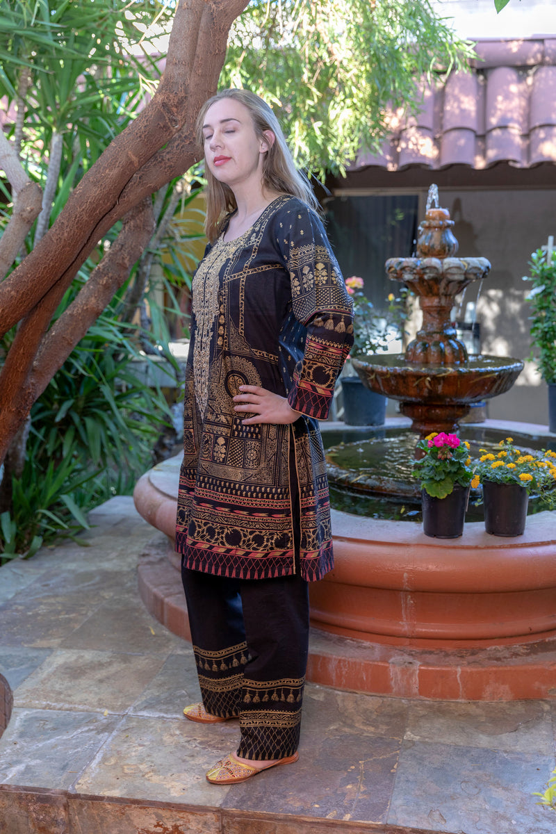 Black Cotton Suit - Salwar Kameez by Gulahmed - Trendz & Traditionz Boutique