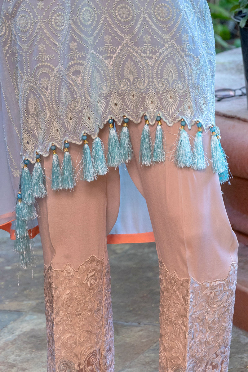 Light Blue Chiffon Suit by Sobia Nazir - Trendz & Traditionz Boutique