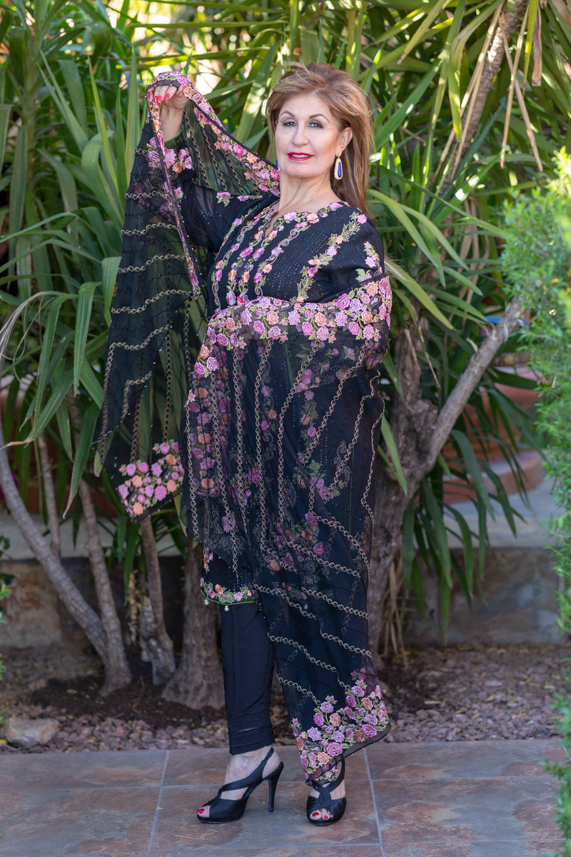 Black Chiffon Salwar Kameez Suit with Floral Embroidery - Trendz & Traditionz Boutique