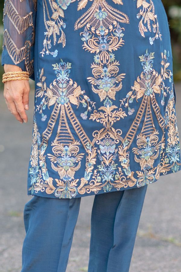 Blue Chiffon Salwar Kameez Suit - Trendz & Traditionz Boutique