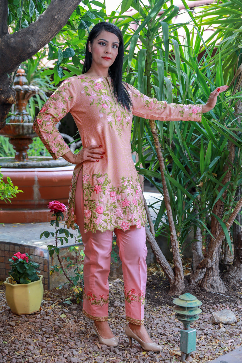 Pink Brocade and Cotton Suit - Salwar Kameez - Trendz & Traditionz Boutique