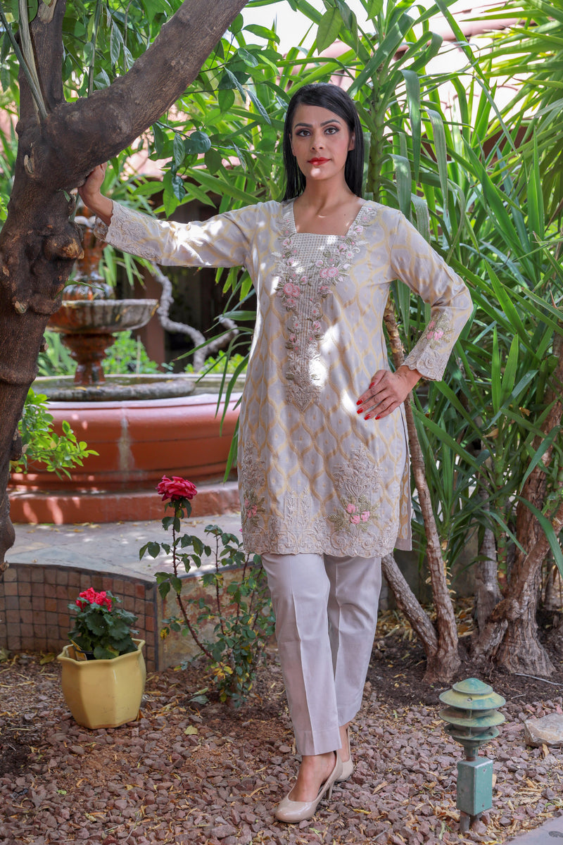 Light Pink Brocade Embroidery Salwar Kameez Suit - Trendz & Traditionz Boutique