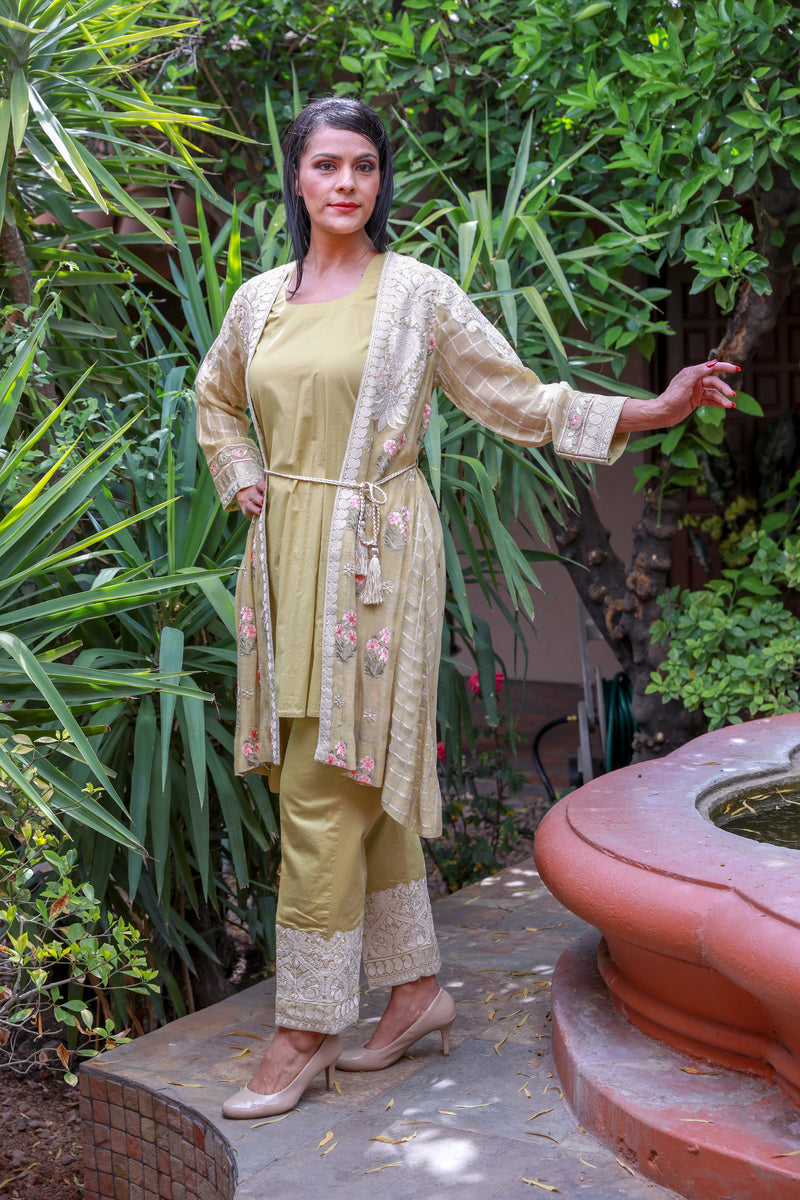 Dijon Yellow Chiffon Salwar Kameez Suit-Trendz & Traditionz Boutique