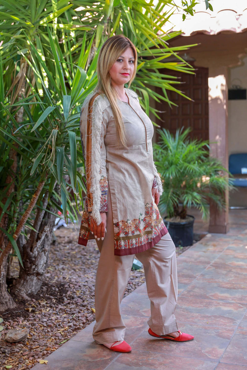 Beige Silk Salwar Kameez Suit with Fringe - Trendz & Traditionz Boutique