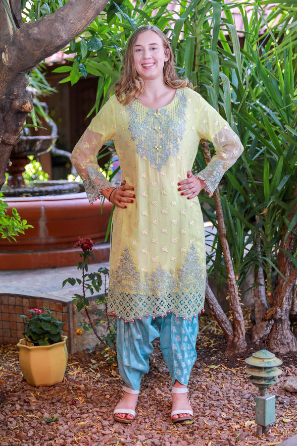 Yellow Chiffon Salwar Kameez Suit - Trendz & Traditionz Boutique