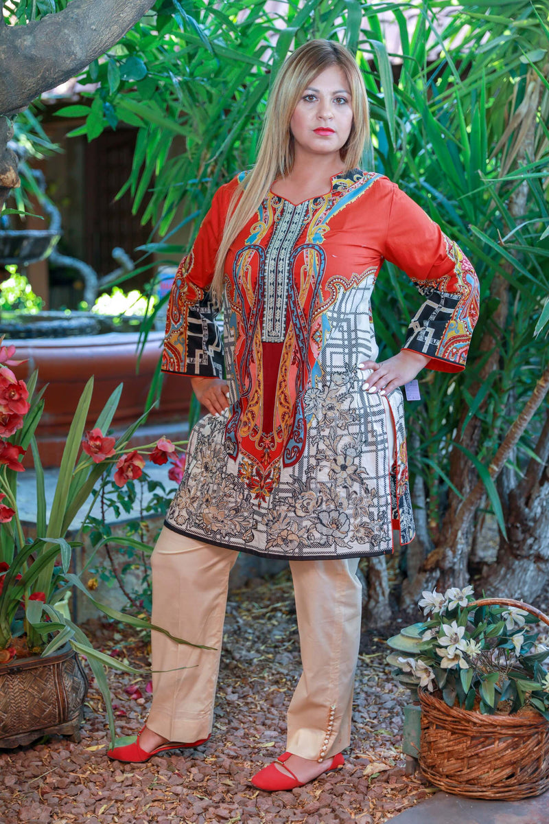 Red and Tan Cotton Suit by Elan - Trendz & Traditionz Boutique