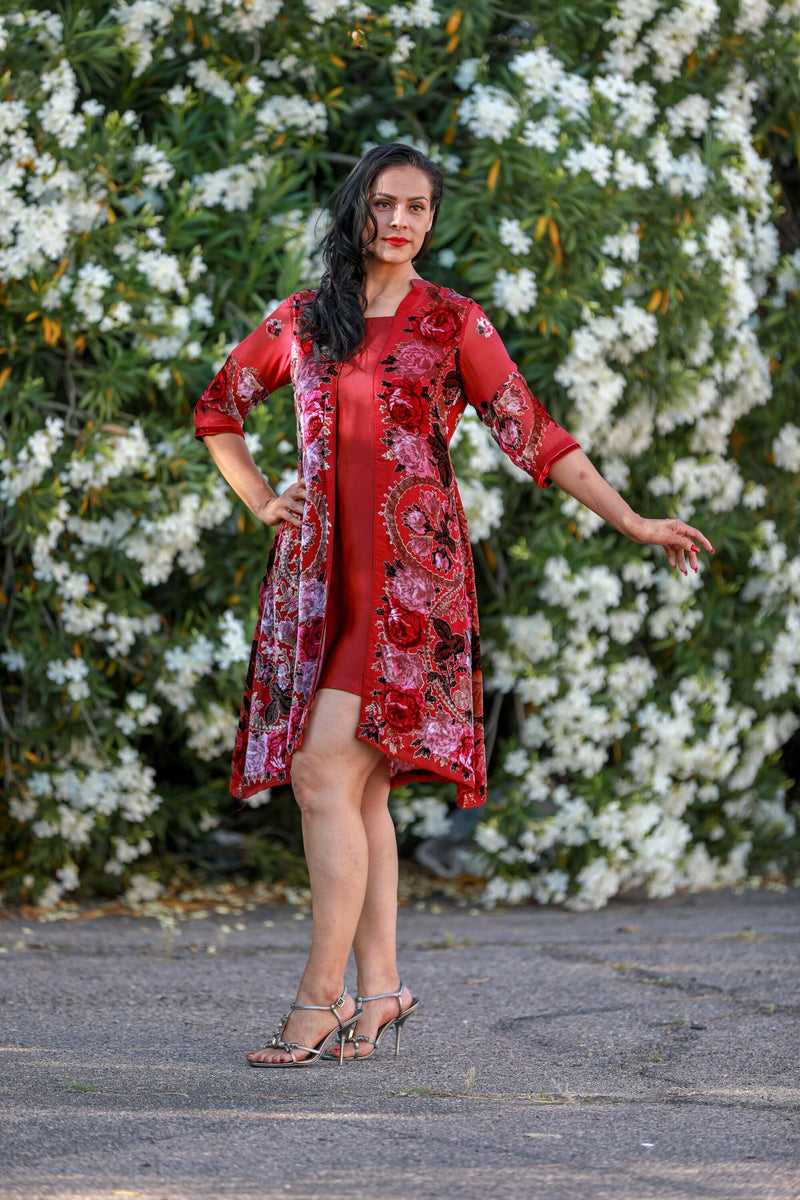 Red Floral Shirt Kurti - Trendz & Traditionz Boutique