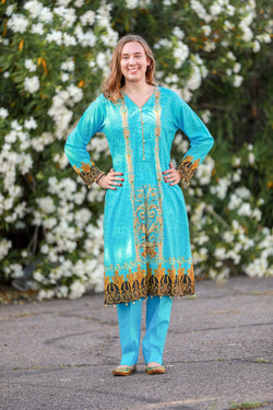 Turquoise Salwar Kameez With Print Design - Trendz & Traditionz Boutique
