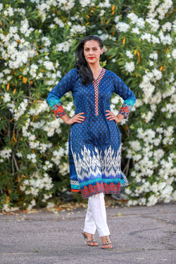 Blue Silk Salwar Kameez Suit - Trendz & Traditionz Boutique