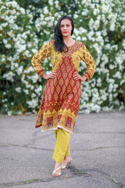 Yellow and Brown Cotton Suit - Salwar Kameez by J.J Valiya - Trendz & Traditionz Boutique