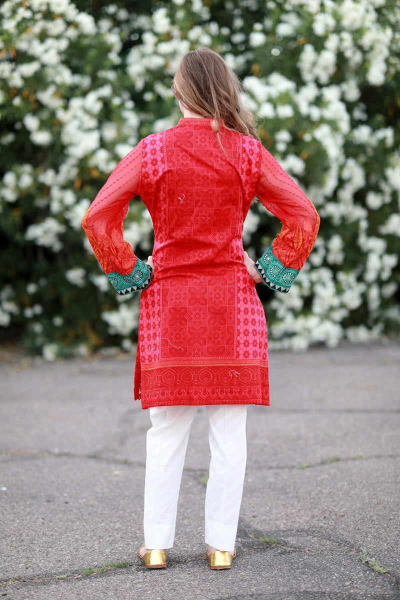 Red and Pink Lawn Suit by Maria B - Trendz & Traditionz Boutique