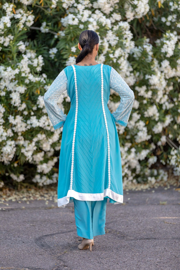 Aqua Blue Chiffon Suit With Silky Pants - Trendz & Traditionz Boutique