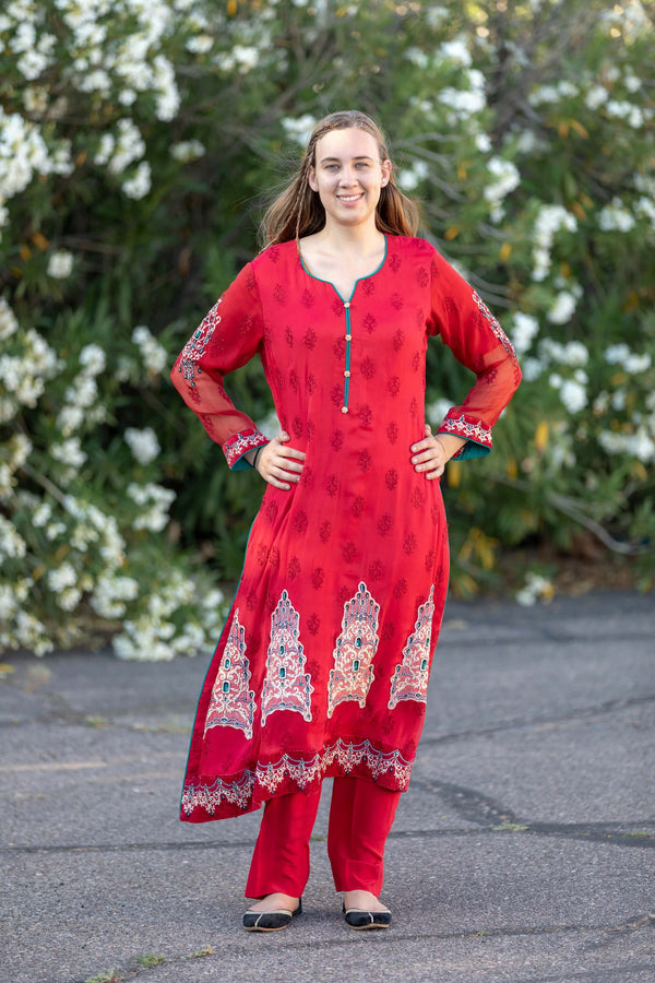 Red Chiffon Maria B. Suit- Trendz & Traditionz Boutique