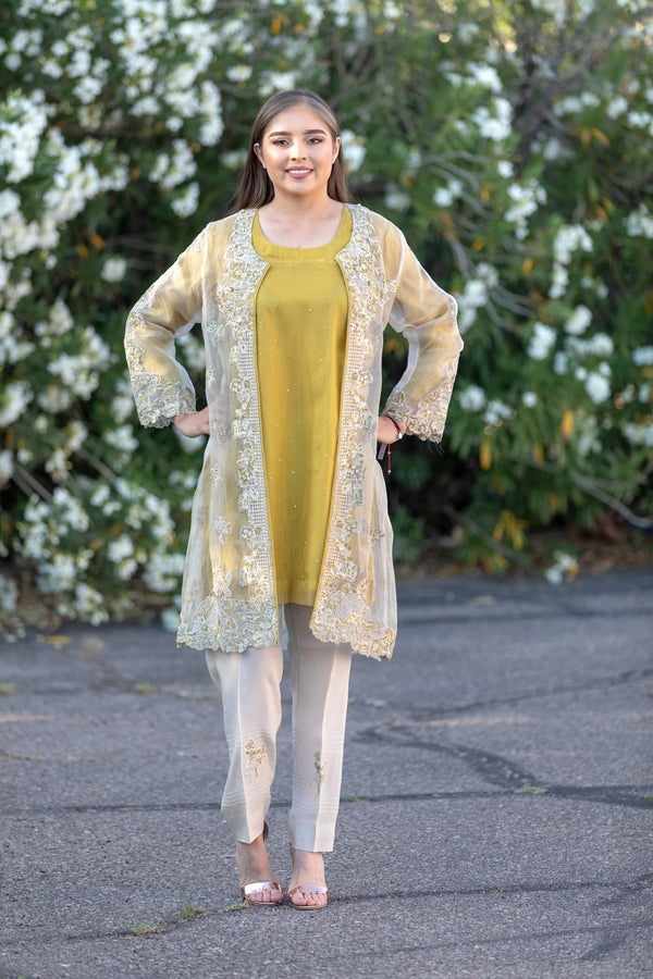 Designer Suit Mustard Yellow Silk Embroidery Organza Shirt - Trendz & Traditionz Boutique