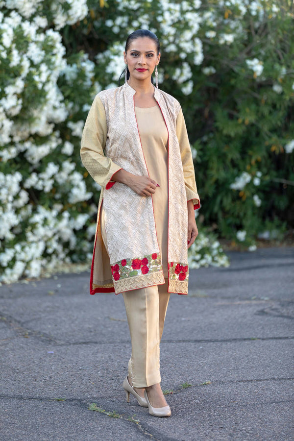 Tan Embroidery Cotton Suit- Trendz & Traditionz Boutique